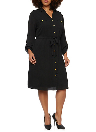 Plus Size Belted Shirt Dress with Cuffed Sleeves,BLACK,large