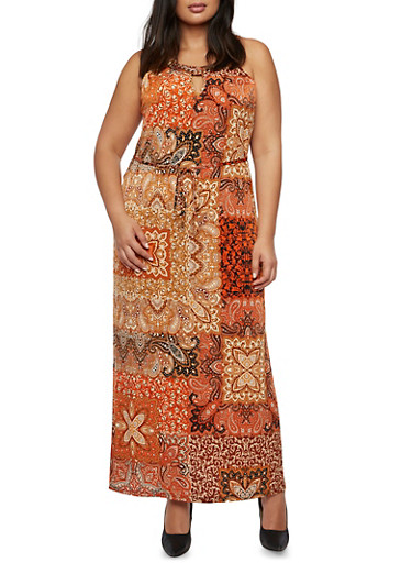 Plus Size Printed Maxi Dress with Curb Chain Detail,MULTI COLOR,large