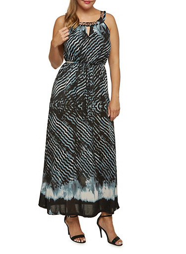 Plus Size Abstract Print Maxi Dress with Curb Chain Detail,BLUE,large