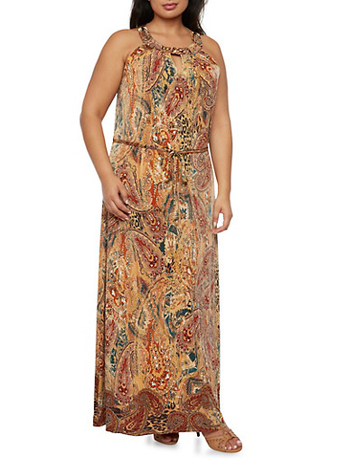 Plus Size Paisley Maxi Dress with Curb Chain Neckline Detail,GOLD,large