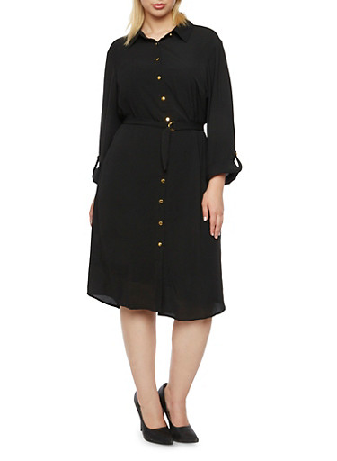 Plus Size Shirt Dress with Removable Belt,BLACK,large