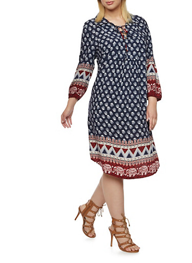 Plus Size Printed Shift Dress with Tie Front,NAVY/WINE,large