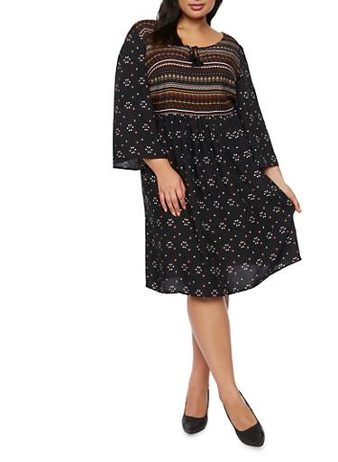 Plus Size Printed Shift Dress,BLACK MULTI,large