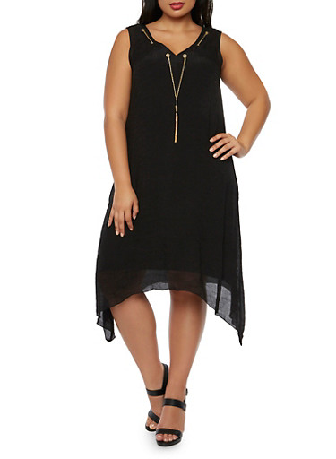 Plus Size V-Neck Dress with Chain and Asymmetrical Hem,BLACK,large