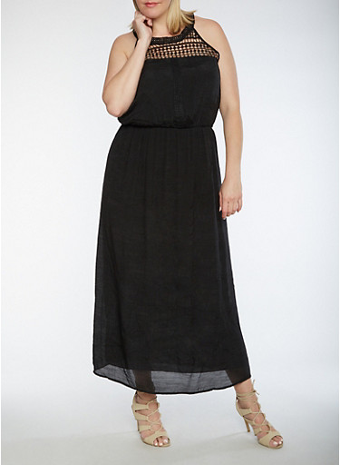 Plus Size Crinkled Maxi Dress with Crochet Trim,BLACK,large