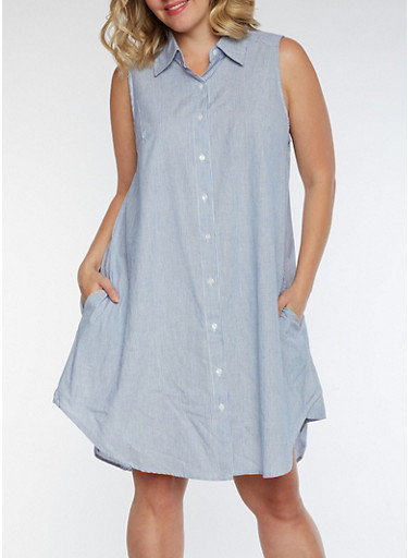 Plus Size Sleeveless Button Front Striped Dress,BLUE,large