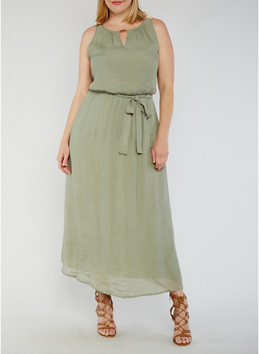 Plus Size Belted Gauzy Dress with Chain Link Trim,SAGE,large