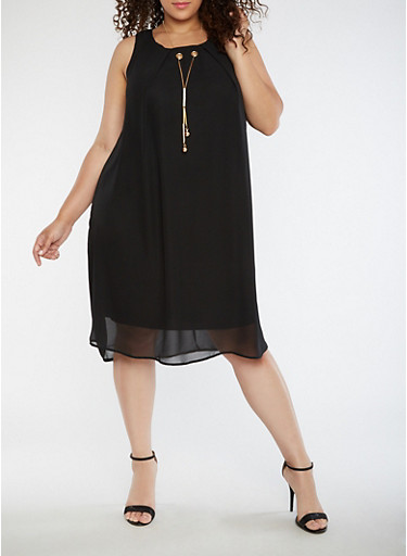 Plus Size Chiffon Shift Dress with Necklace,BLACK,large