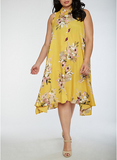 Plus Size Floral Asymmetrical Shirt Dress,MUSTARD,large