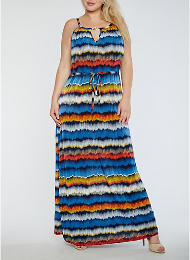 Plus Size Printed Maxi Dress with Chain Link Detail,NAVY-MUSTARD,large