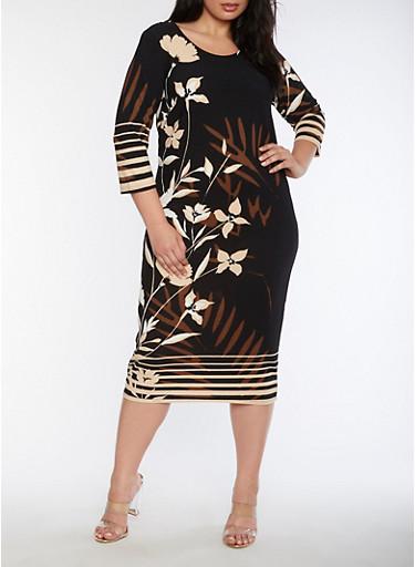Plus Size Floral Crepe Knit Sheath Dress,BLACK/BEIGE,large