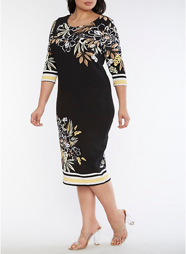 Plus Size Floral Border Print Dress,BLACK/YELLOW,large