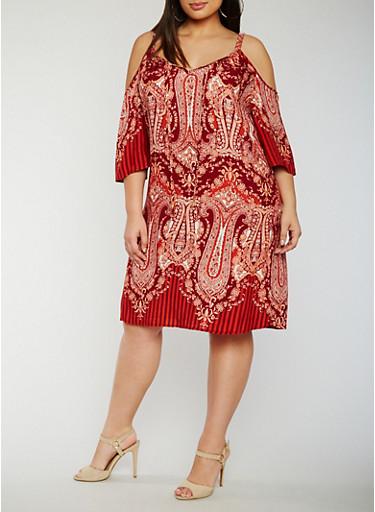 Plus Size Paisley Print Cold Shoulder Dress,RUST COMBO,large
