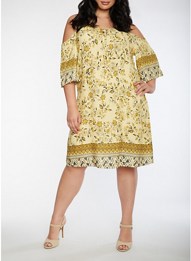 Plus Size Border Print Cold Shoulder Dress,MUSTARD,large