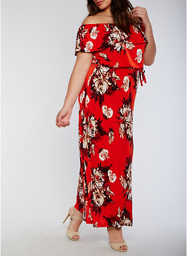 Plus Size Off the Shoulder Belted Floral Maxi Dress,RED,large