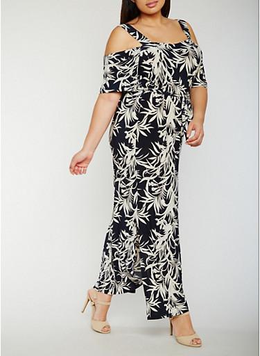 Plus Size Tropical Print Cold Shoulder Dress with Belt,NAVY/IVORY,large