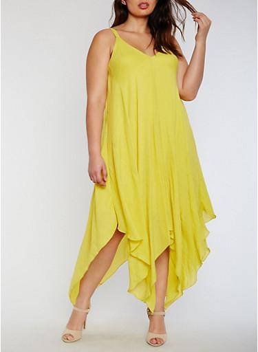 Plus Size Sleeveless V Neck Sharkbite Dress,MUSTARD,large