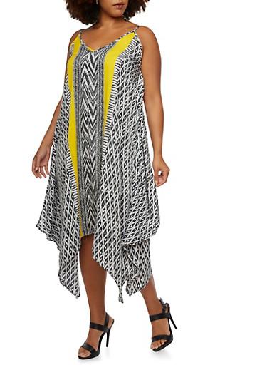 Plus Size Sleeveless Mixed Print Dress with Sharkbite Hem,YELLOW,large