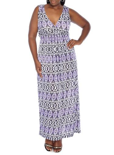 Plus-Size Printed Maxi Dress,PURPLE/BLACK,large