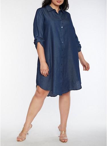 Plus Size Button Front Denim Dress,DENIM,large