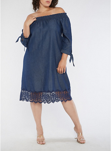 Plus Size Off the Shoulder Denim Dress with Crochet Detail,DARK WASH,large