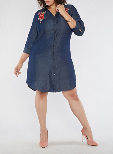 Plus Size Floral Applique Chambray Shirt Dress,NAVY,large