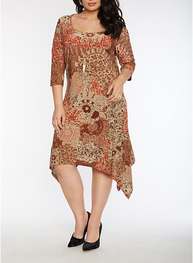 Plus Size Asymmetrical Printed Dress with Necklace,RUST,large