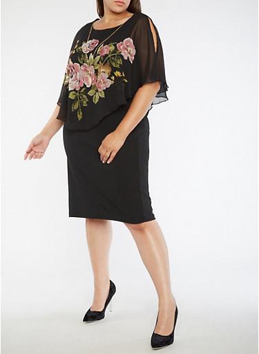 Plus Size Floral Cold Shoulder Overlay Dress,BLACK/ROSE,large