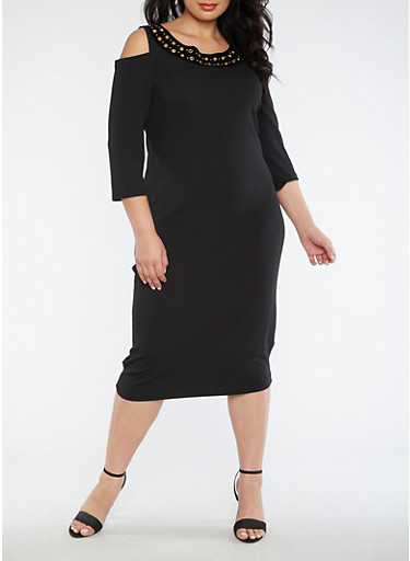 Plus Size Cold Shoulder Grommet Dress,BLACK,large