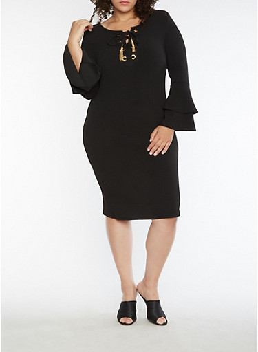 Plus Size Lace Up Bell Sleeve Midi Dress,BLACK,large