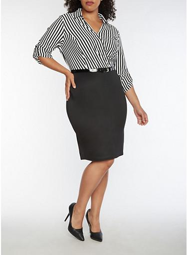 Plus Size Half Striped Faux Wrap Dress,BLACK/WHITE,large