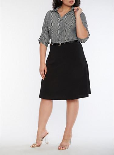 Plus Size Striped Crepe Knit Shirt Dress,BLACK/WHITE,large