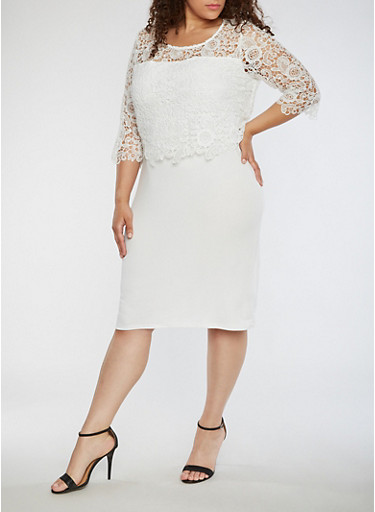 Plus Size Dress with Lace Overlay,IVORY,large