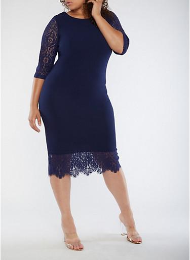 Plus Size Lace Trim Dress,NAVY,large