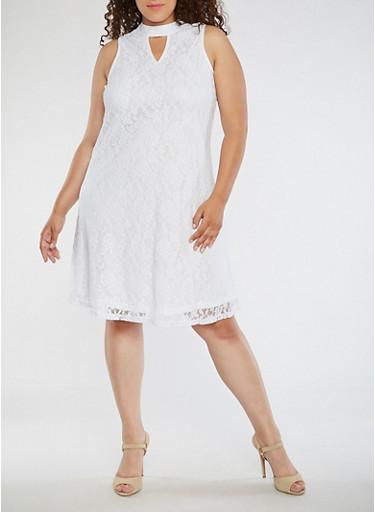 Plus Size Sleeveless Lace Dress,WHITE,large
