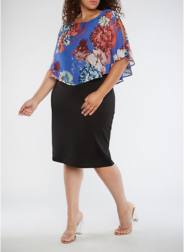 Plus Size Floral Overlay Midi Dress,BLUE PRT,large