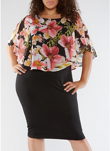 Plus Size Floral Overlay Midi Dress,BLACK,large