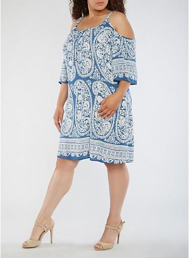 Plus Size Cold Shoulder Paisley Print Dress,DENIM,large