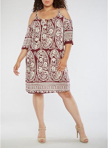 Plus Size Cold Shoulder Paisley Print Dress,BURGUNDY,large