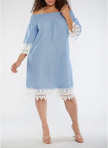 Plus Size Smocked Off the Shoulder Dress,CHAMBRAY,large