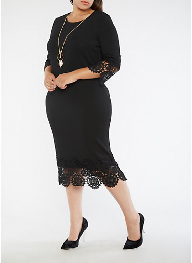 Plus Size Solid Crochet Trim Dress,BLACK,large
