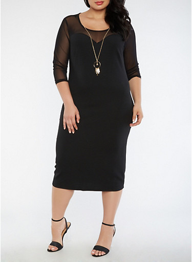 Plus Size Crepe Knit Mesh Dress with Necklace,BLACK,large
