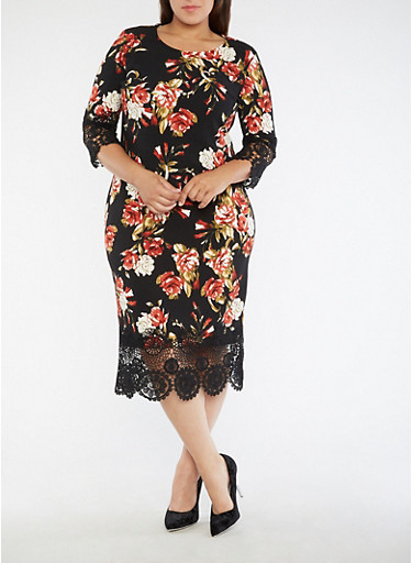Plus Size Crochet Trim Floral Dress,BLACK/RED,large