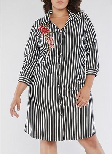 Plus Size Striped Button Front Dress,BLACK,large