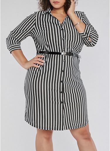 Plus Size Striped Shirt Dress with Belt,BLACK/WHITE,large