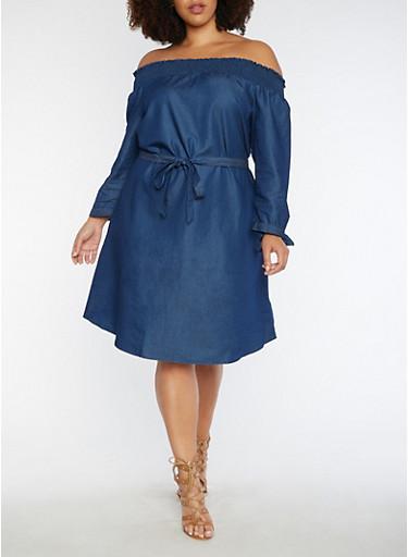 Plus Size Off the Shoulder Dress with Tie Waist,INDIGO,large