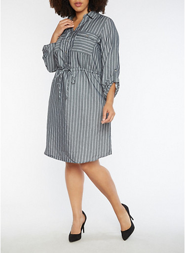 Plus Size Striped Button Front Dress,GRAY,large