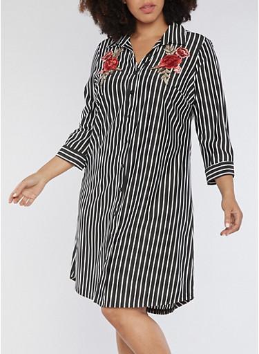 Plus Size Striped Button Front Dress with Floral Applique,BLACK,large