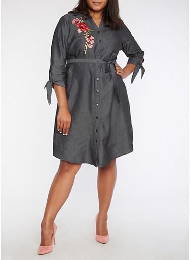 Plus Size Rose Applique Button Front Dress,DENIM,large