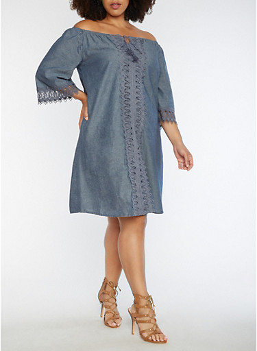 Plus Size Off the Shoulder Dress with Crochet Detail,CHAMBRAY,large